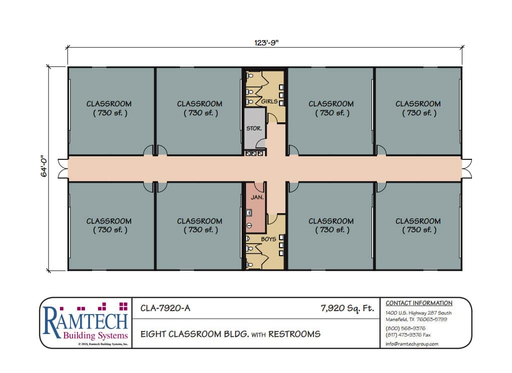 Ramtech relocatable and permanent modular building floor plans for Classroom floor