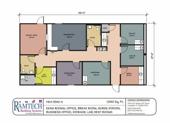 Medical floorplans ramtech for Work out floor area