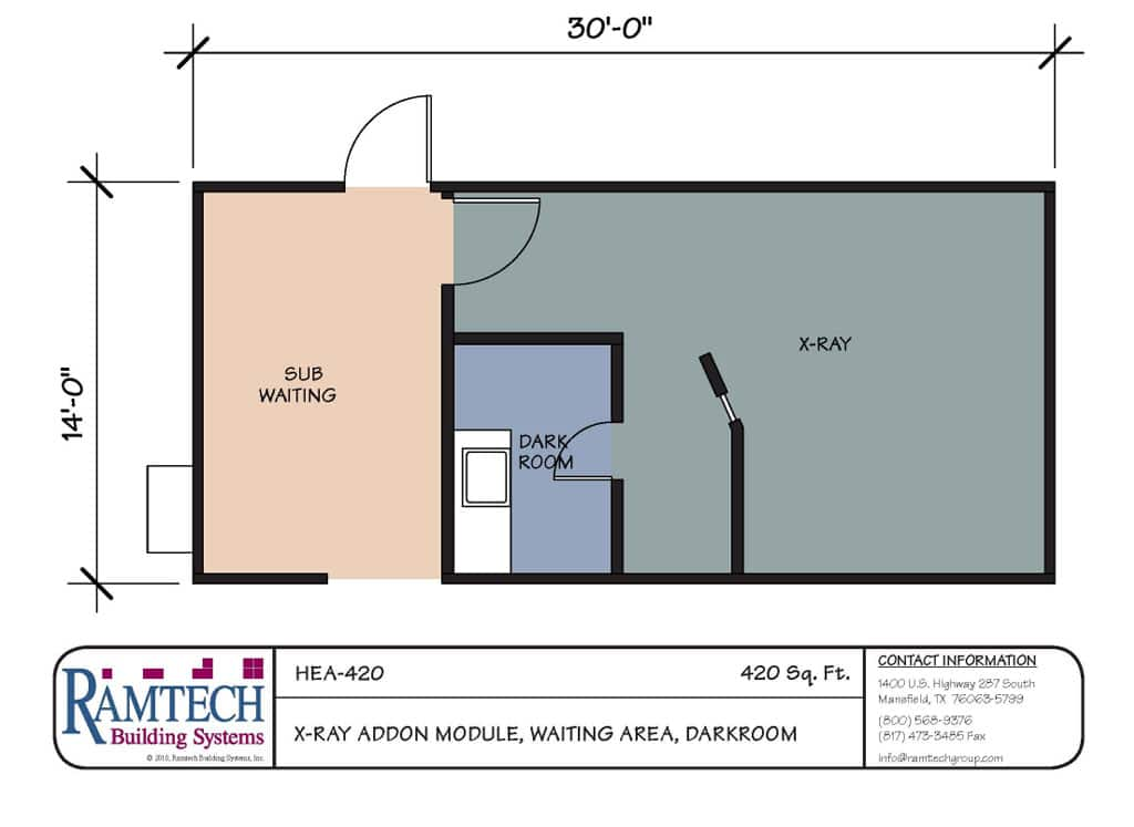 Ramtech relocatable and permanent modular building floor plans for X ray room floor plan