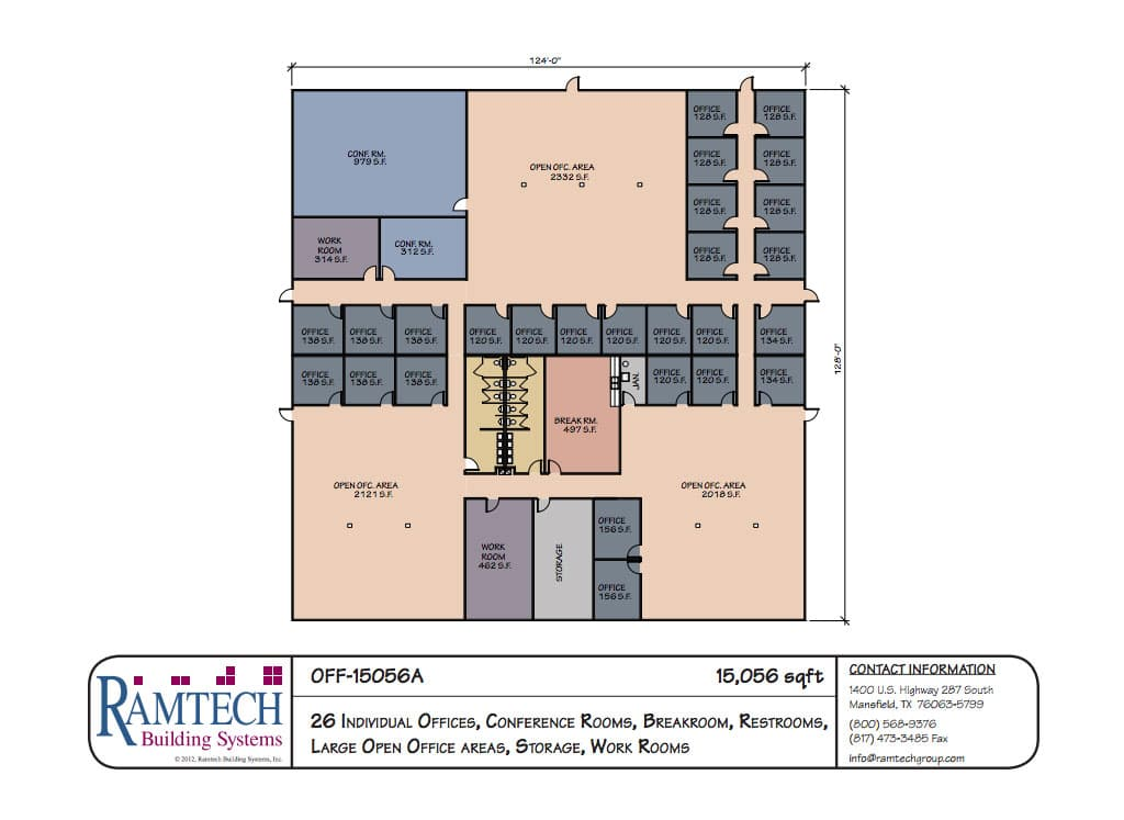Ramtech relocatable and permanent modular building floor plans for Floor plan for commercial building